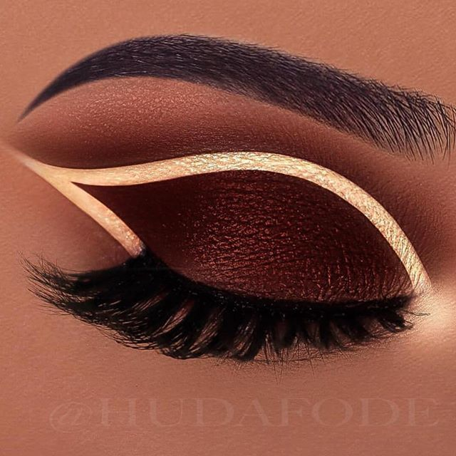 Chocolate brown and gold eye makeup