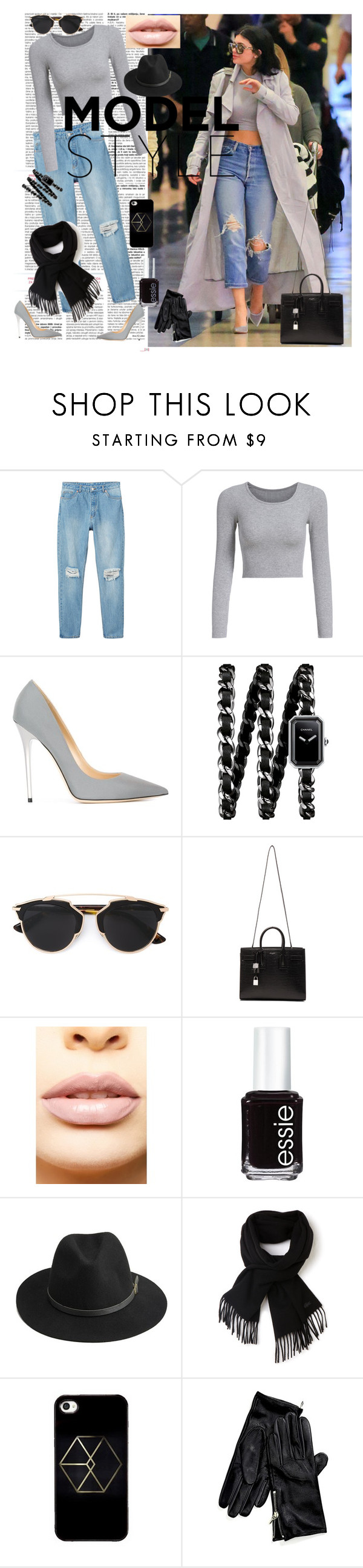 """Untitled #11"" by sejla-berbic ❤ liked on Polyvore featuring beauty, Monki, Jimmy Choo, Chanel, Christian Dior, Yves Saint Laurent, LASplash, Essie, BeckSöndergaard and Lacoste"