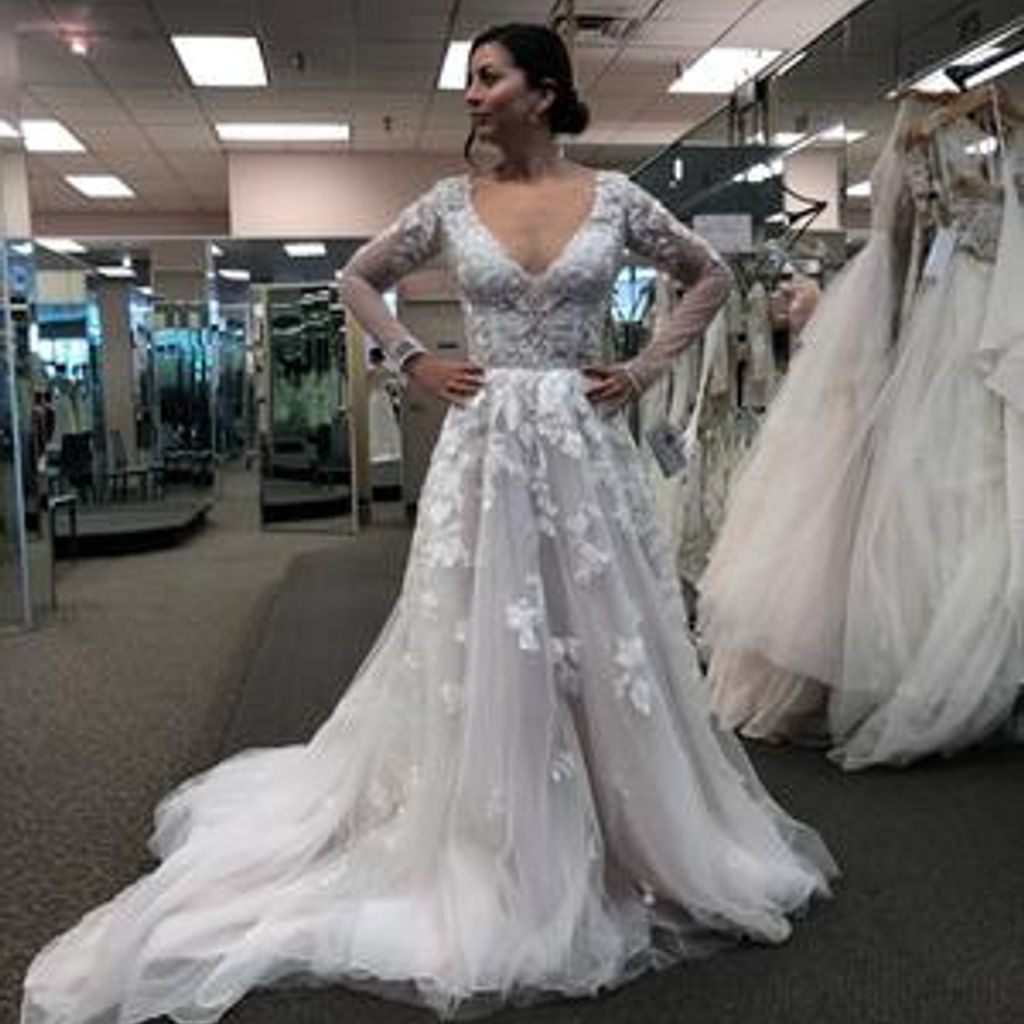 Illusion Sleeve Plunging Ball Gown Wedding Dress With Images Ball Gown Wedding Dress Ball Gowns Wedding Davids Bridal Wedding Dresses