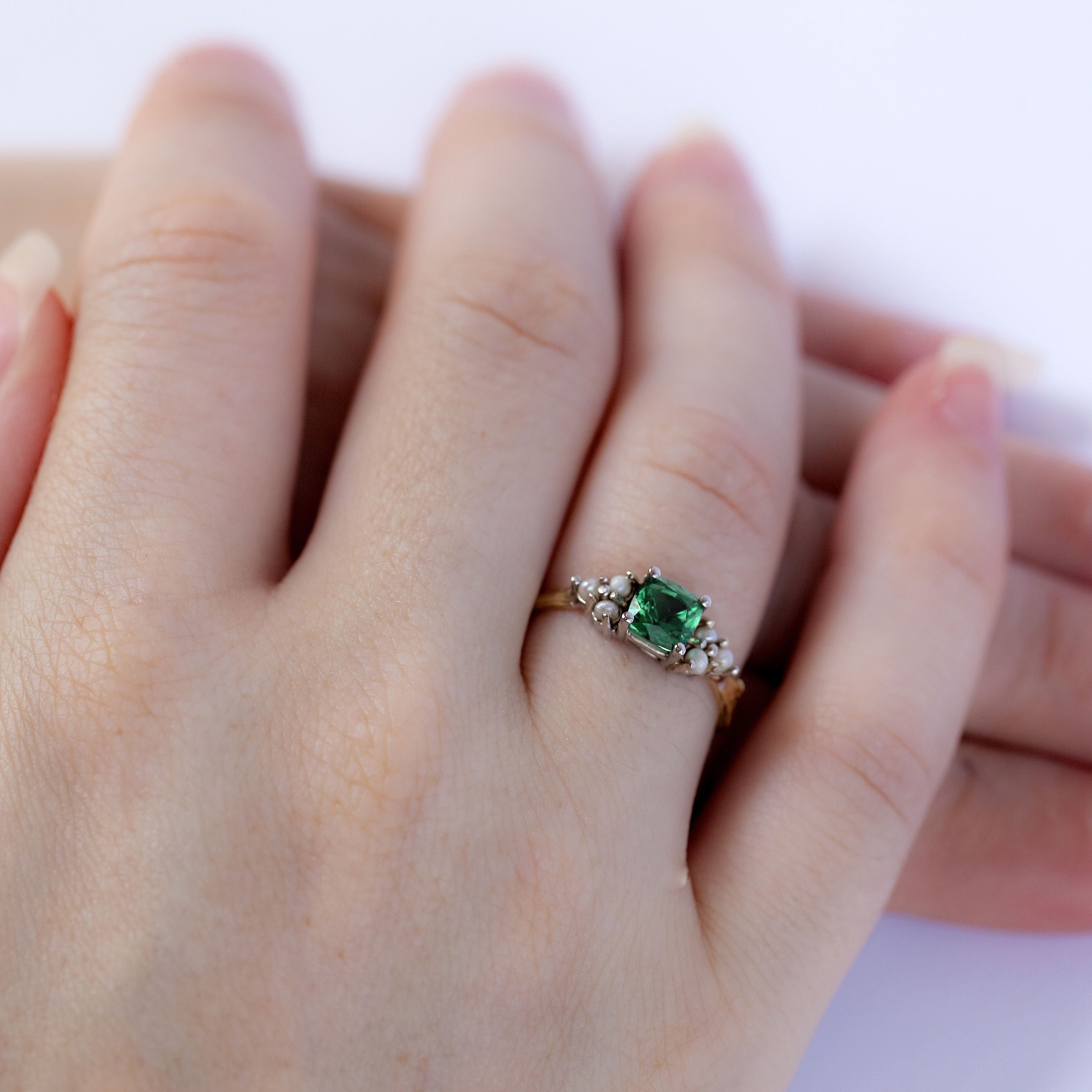 Green With Envy Pearl Ring | Green tourmaline, Cushion cut and Pearls
