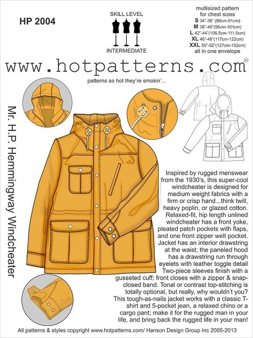 Mr. H.P. Hemmingway Windcheater - a Hot Patterns potential pattern - if they get enough orders by Oct 4th, they'll start printing. It's a menswear coat but I think it would be really cute with an elastic back waist like the Minoru.