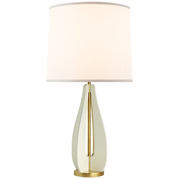 Silhouette Curved Table Lamp in China White and Soft Brass with Silk Shade