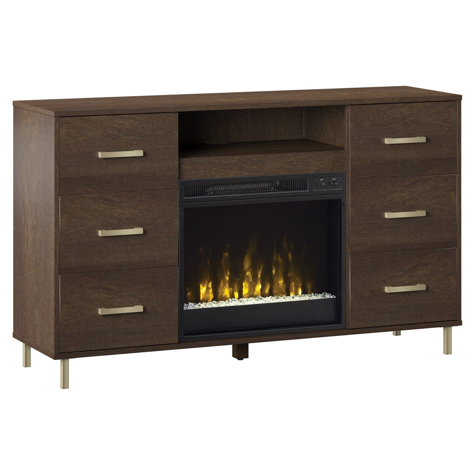 Twin Star Media Mantel Fireplace With Infrared Quartz Heater And