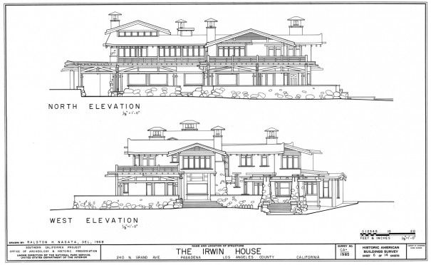 Elevations Duncan Irwin House Greene Architects 1900
