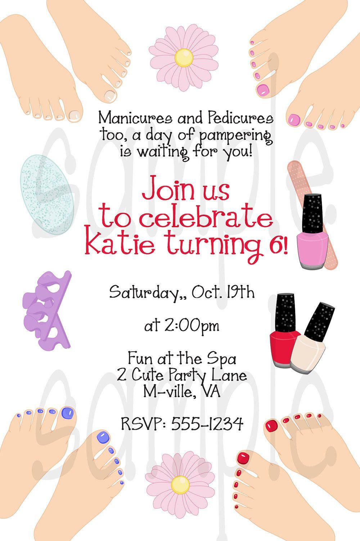 Manicure / Pedicure / Spa Party Invitation / printable / digital ...
