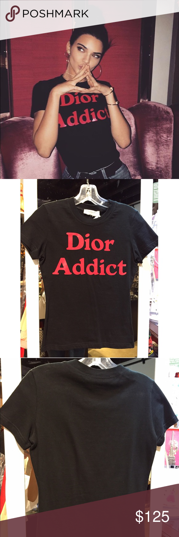 Dior Addict red print on black t-shirt As seen on Kendall