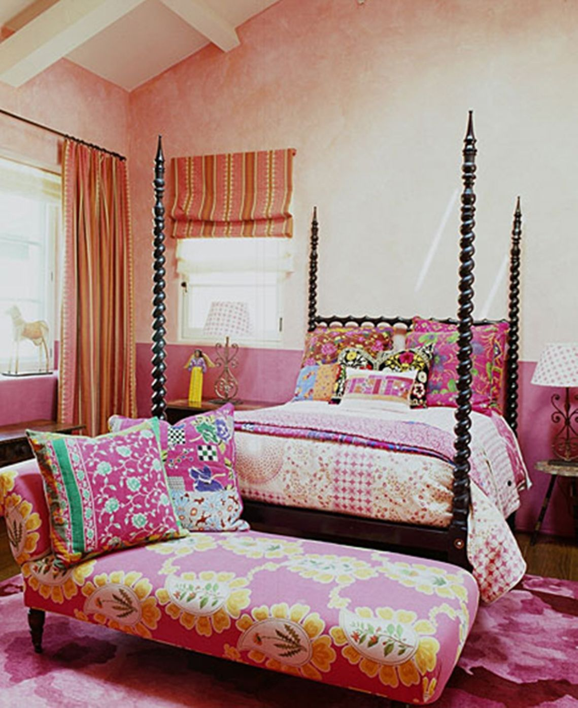 Bedroom Chic Boho Ideas With Shades Of Pink Color