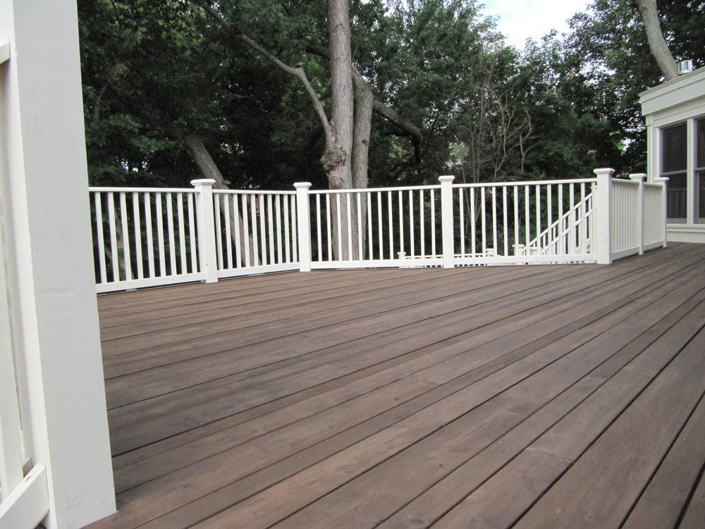 Would Like To Strip Our Deck And Stain A Weathered Grey And Paint The Rails White Outdoor Wood Decking Outdoor Wood House Exterior