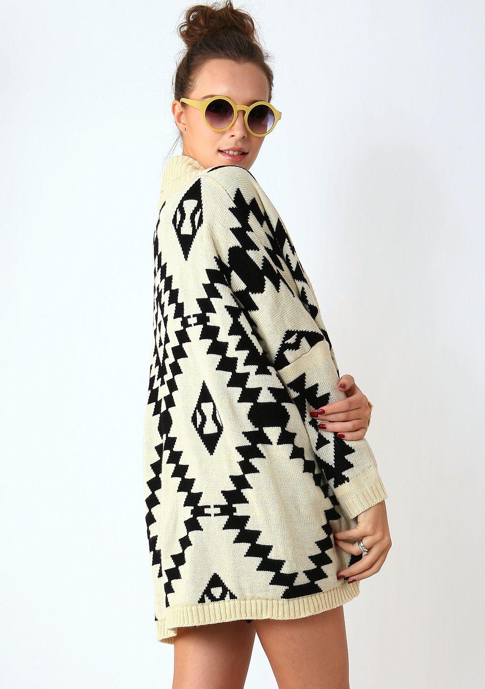 Aztec Open Knit Cardigan - New Arrivals - Retro, Indie and Unique Fashion