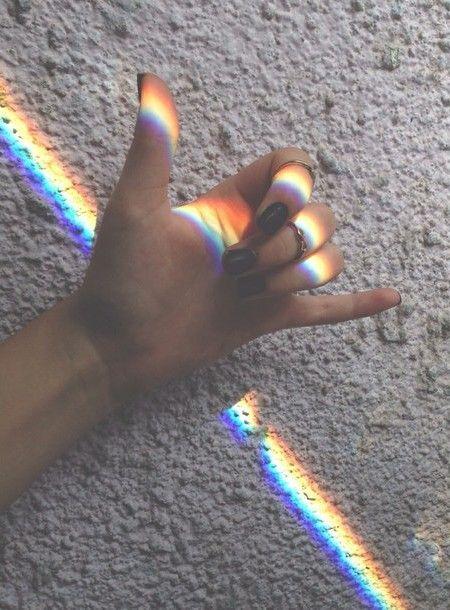 Imagen de rainbow, grunge, and hand
