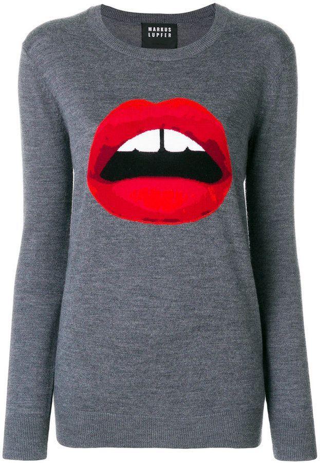 Markus Lupfer Intarsia Lips Jumper Products Merino Wool