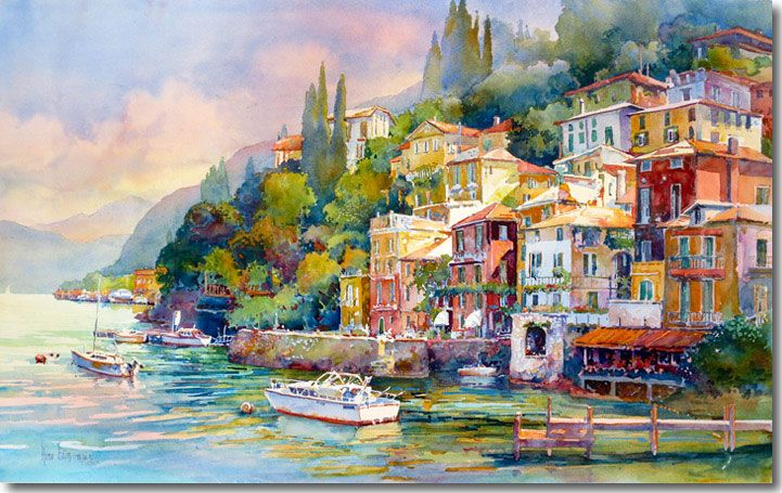 Varenna By Rose Edin Watercolor Showing The Shore Of Lake Como