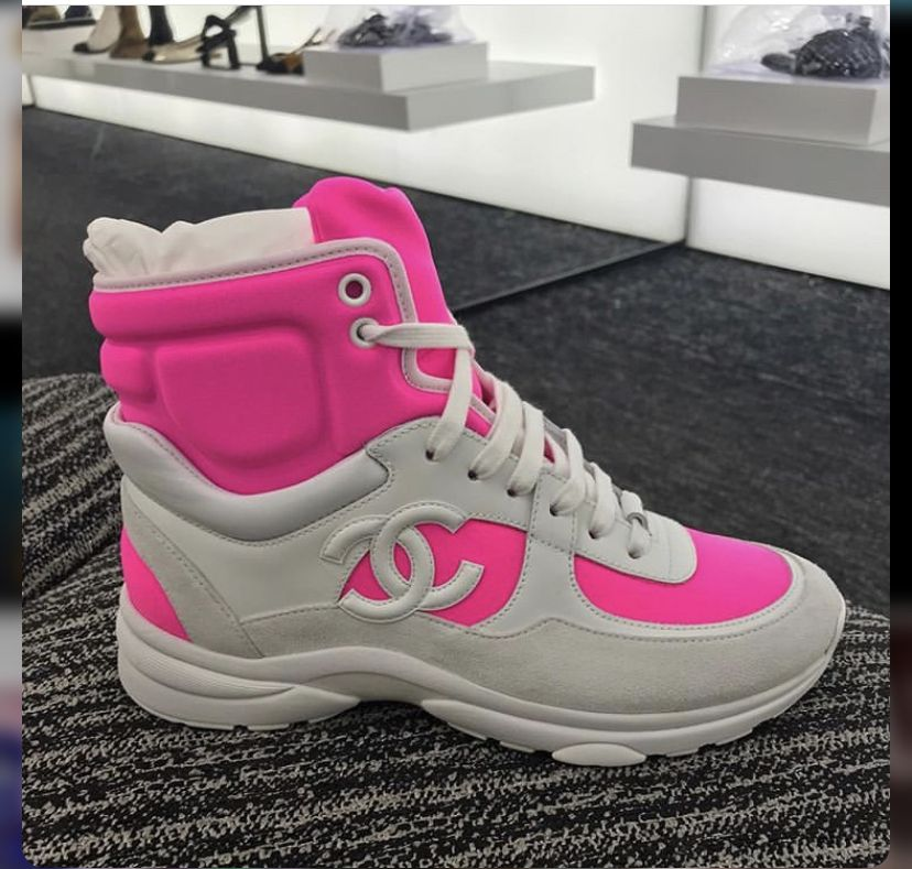 Chanel 🍬   Pink sneakers, Bootie boots