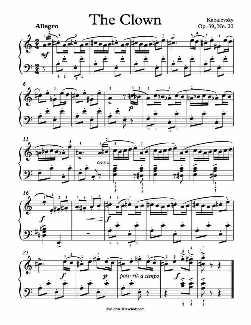 Free Piano Sheet Music – The Clown Op  39, No  20 – Kabalevsky - 1