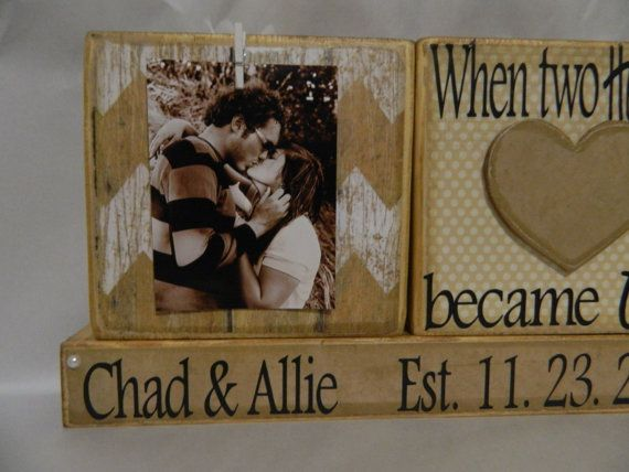 Wedding Decoration wooden blocks when two heart by FayesAttic11