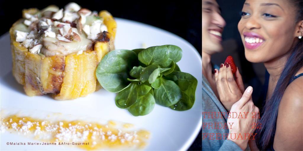 Charlotte à la banane plantain et sa sauce curry abricot et coco rapée.Création Afro Gourmet