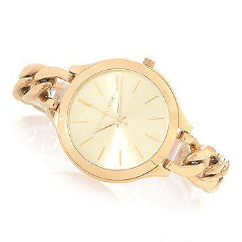 Michael Kors Womens Slim Runway Quartz Chain Link Stainless Steel Bracelet Watch