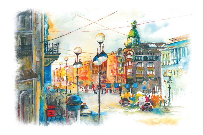 Акварельная открытка санкт-петербург, дени рождения