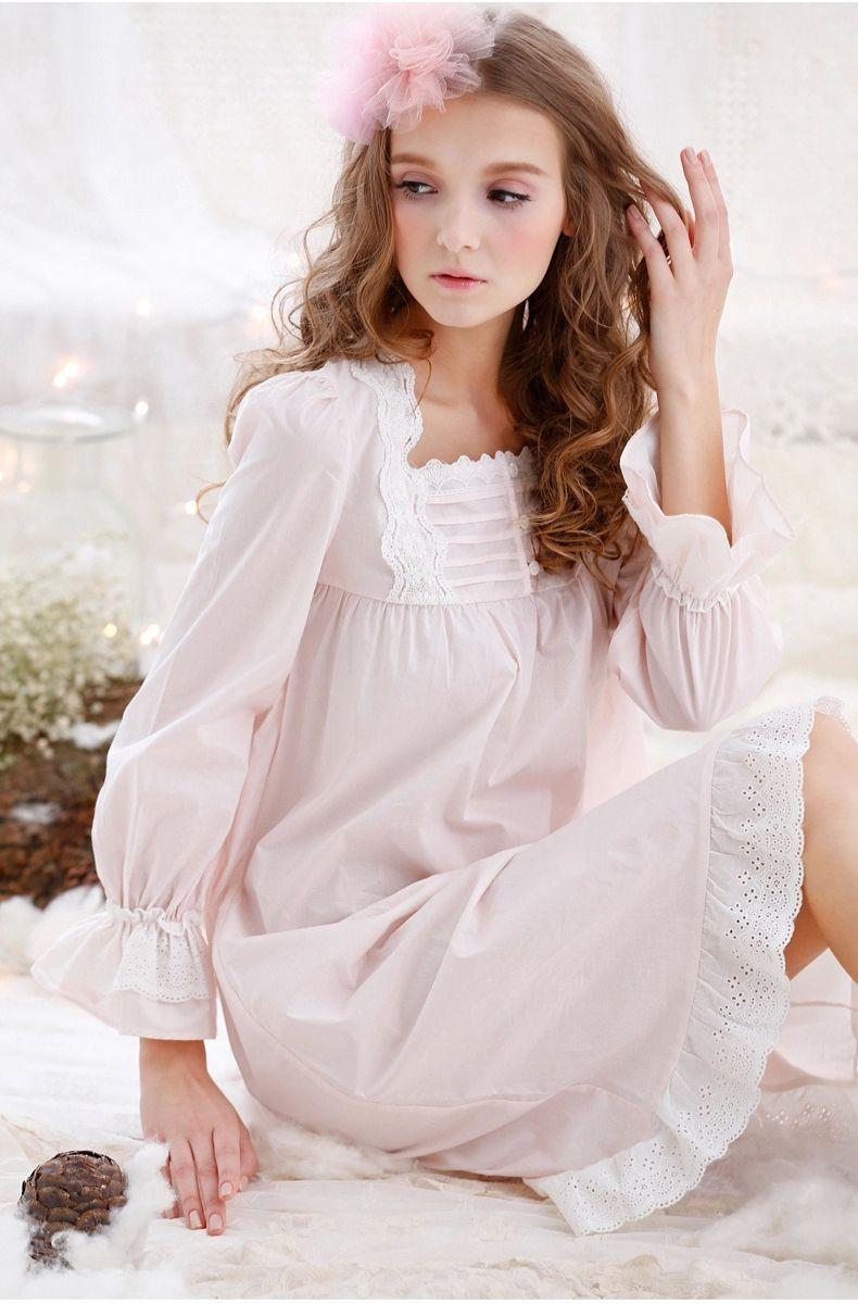 Freies Verschiffen langärmelige Baumwolle Nachthemden Vintage Süße ...
