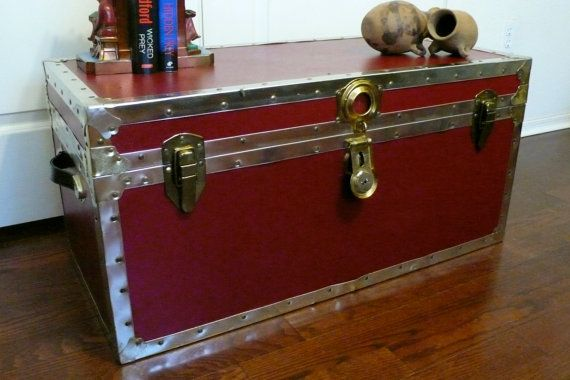 Vintage Red Trunk Storage Foot Locker With Cedar By Chriscre, $124.00