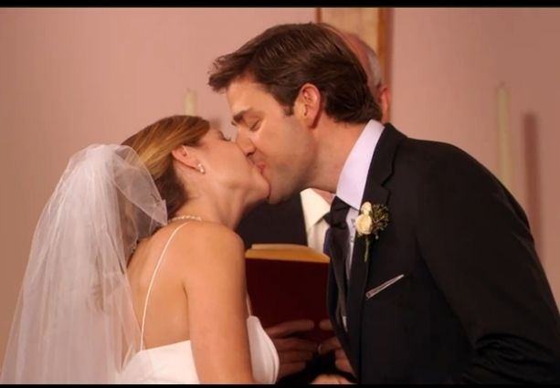 They Have A Couple Of Them Their First Lip Lock After Jim Finally Declared His Love For Pam And Went F The Office Wedding Jim And Pam Wedding Pam The Office