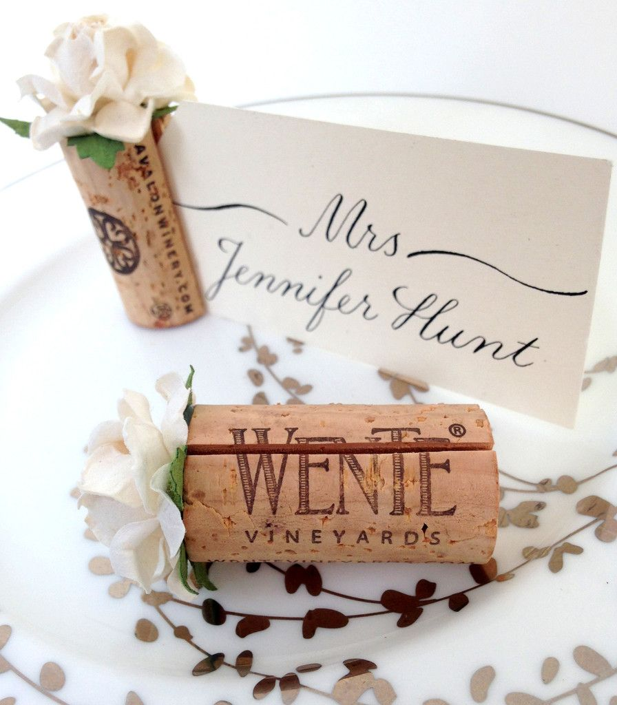 Wedding Cork Boutonniere: Succulent Place Card Holder