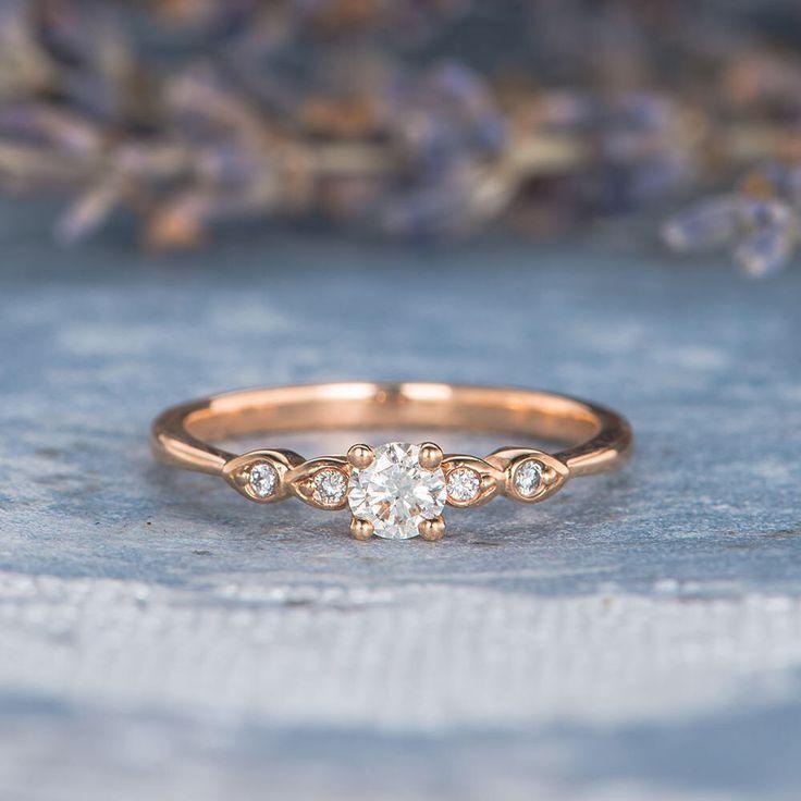 Diamond Engagement Ring Rose Gold Pave Retro Antiq