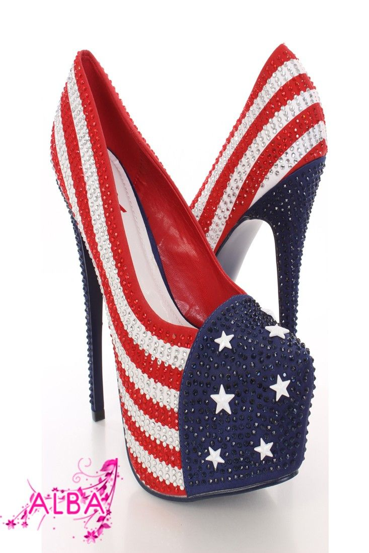 These platform pump heels are just about as American as apple pie and George Washington, so show of your patriotism with these stylish heels! Make sure you add these to your closet, it definitely is a must have! The features include a fabric upper with an American flag design, rhinestone throughout, star studs, almond shaped closed toe, smooth lining, and cushioned footbed. Approximately 6 1/2 inch heels and 2 1/2 inch platforms.