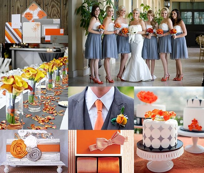 We Absolutely Adore This Orange And Charcoal Gray Inspiration Board Has Long Been Paired With Canary Yellow For A Gorgeous Wedding Color