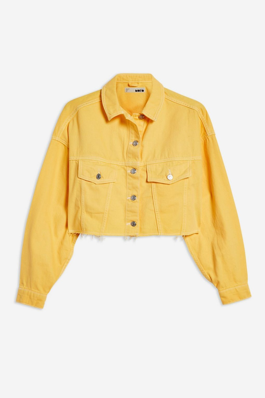 Yellow Hacked Denim Jacket Yellow Denim Yellow Jacket Outfit Yellow Denim Skirt