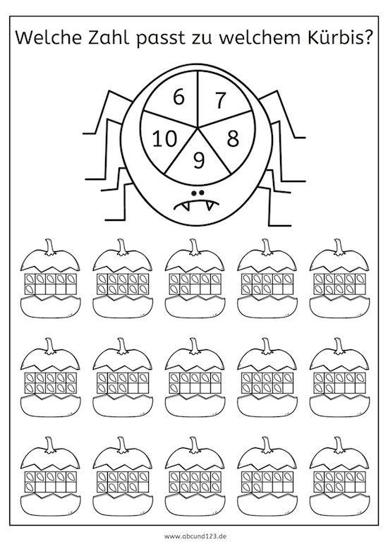 Kreiselspiel: Zahl und Menge (Halloween-Version), Kreiselspiel, Zahl ...