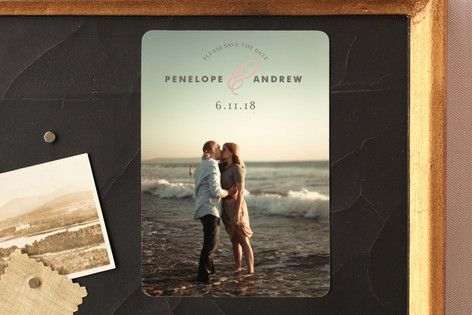 """""""Delicate Ampersand"""" - Full-Bleed Photo Save The Date Magnets in Blush by Olivia…"""