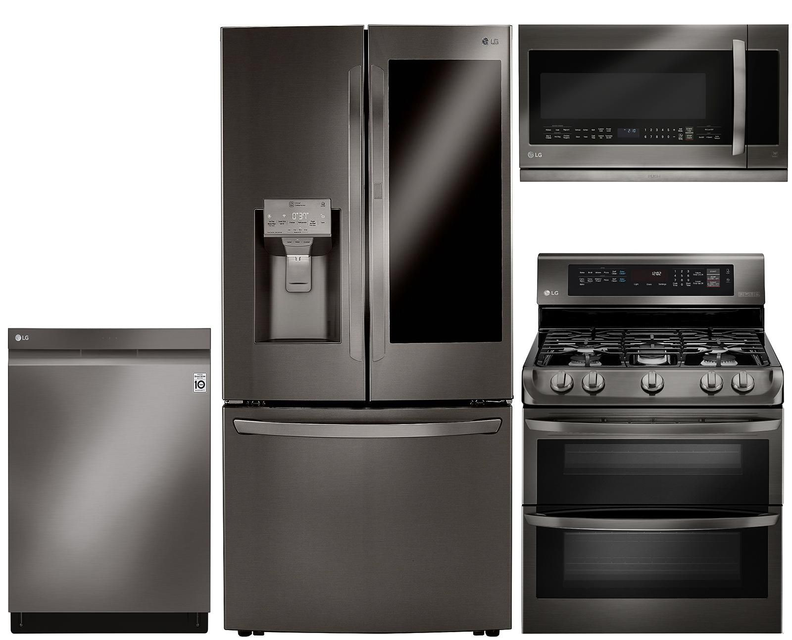 Lg 4 Piece Gas Kitchen Appliance Package With 23 5 Cu Ft Smart