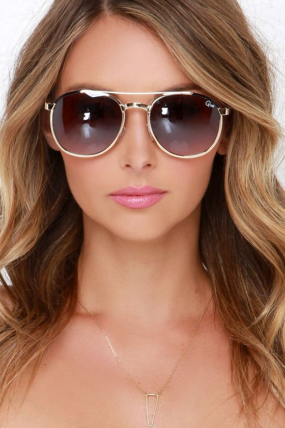 2036221b13 Quay Sundance .7.8 Brown and Gold Sunglasses at Lulus.com!