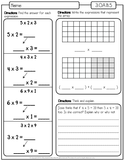 This Is A Set Of Worksheets For The Third Grade Math Standard 3 Oa A 5 Which Is Apply Properties Of Multiplication Distributive Property Upper Elementary Math