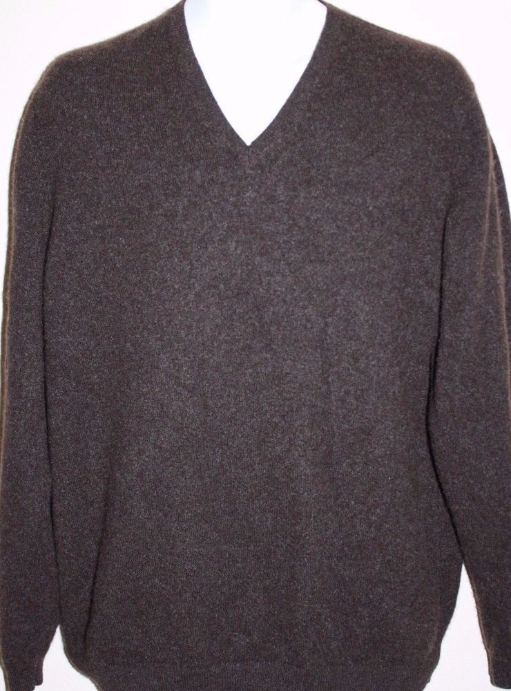 BROOKS BROTHERS Chocolate Brown V Neck 100% Cashmere Sweater Large ...