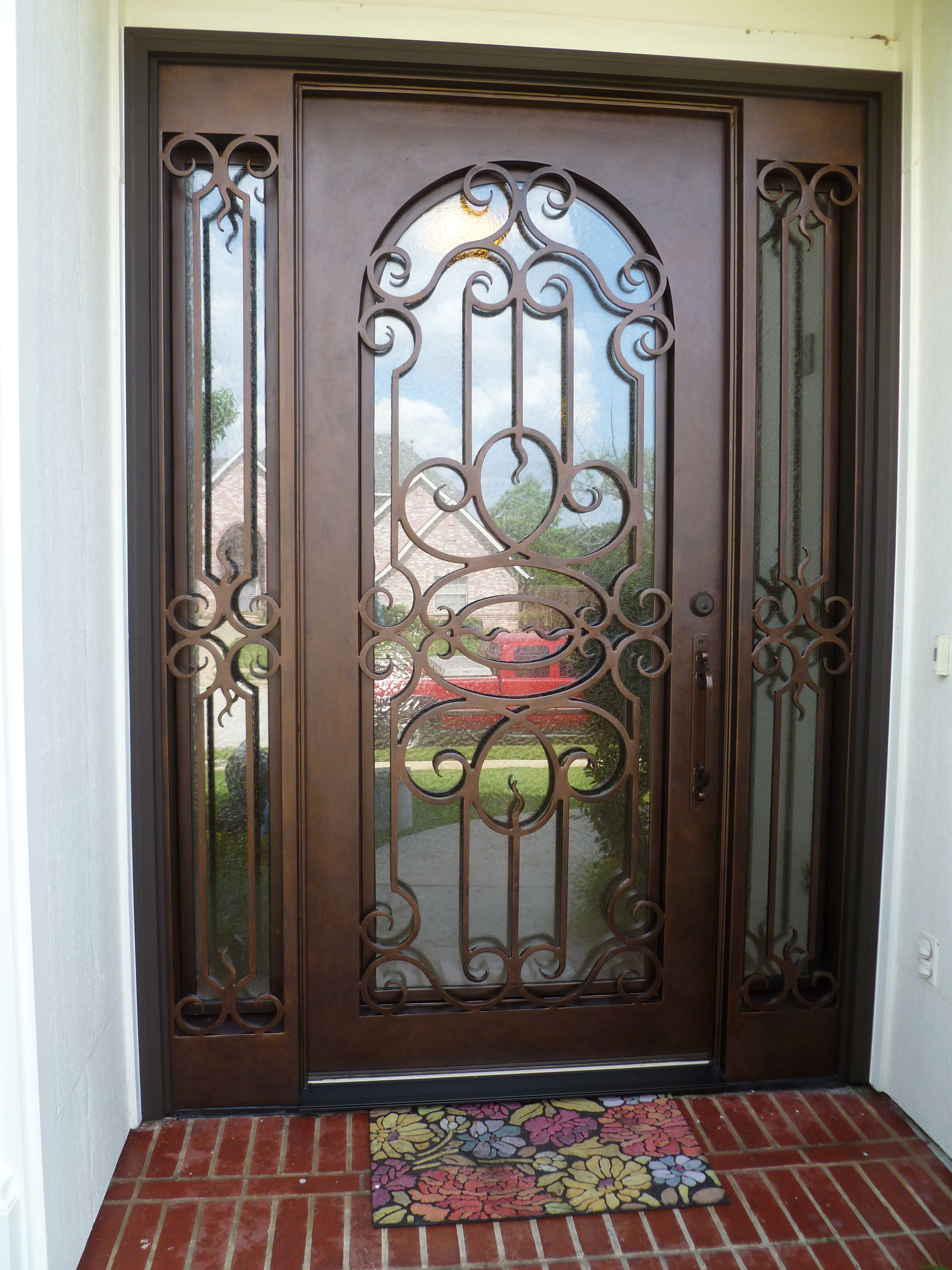 Custom Wrought Iron Door With Sidelights Aaleadedglass Com