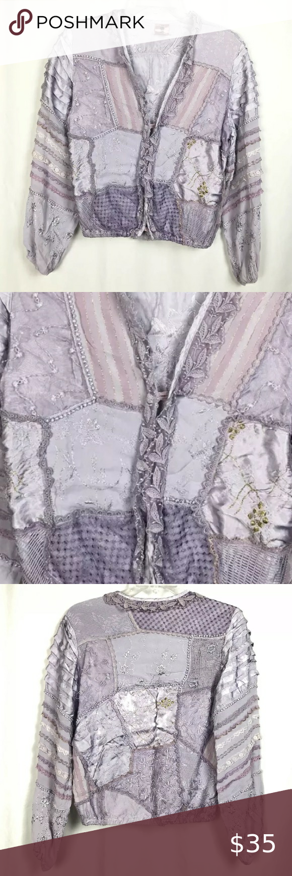 Vintage 80s Lace Ruffled Lurex Jacket Victorian Vintage 1980s Lace , Mesh, Ruffled, Metallic Lurex threading, Jacket top  Fancy Victorian  Made in ITALY  Lavender purple with White , Gold & Silver accents Elastic cuffs and waistband tag size S 3 Loop & button closures in the front 100% Viscose with trimming made from Poly & Rayon measurements are approximate pit to pit across the back 20