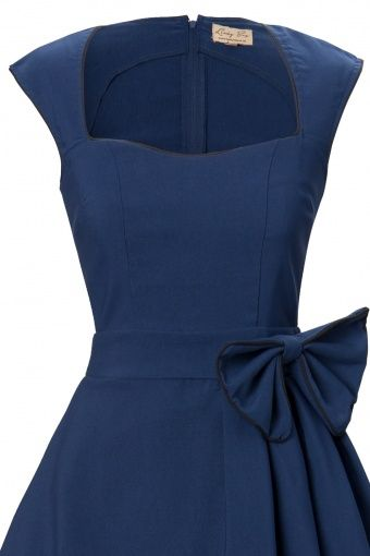 8f85c6b7c1 The 1950s Grace Midnight Blue Bow vintage style swing party rockabilly  evening dress from Lindy Bop