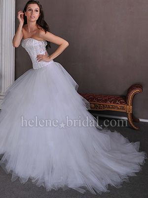 A-Line Ball Gown Princess Strapless Sweetheart Dropped Satin Tulle Wedding Dress - US$ 329.99 - Style WD0695 - Helene Bridal
