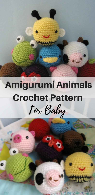 Cute amigurumi animals crochet pattern  Bee, frog, pig, cow, bird