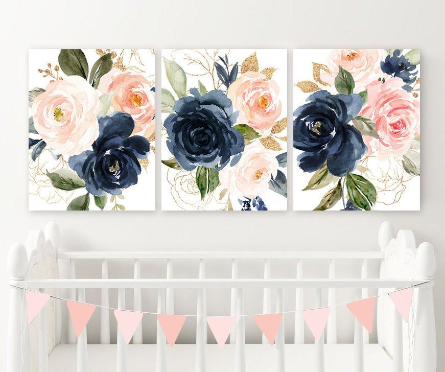 Watercolor Navy Pink Floral Wall Art Watercolor Floral Nursery Floral Wall Art Floral Nursery