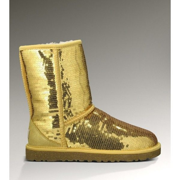 top a uk ugg boots classic short sparkles 3161 gold ugg3161 003 via rh pinterest com