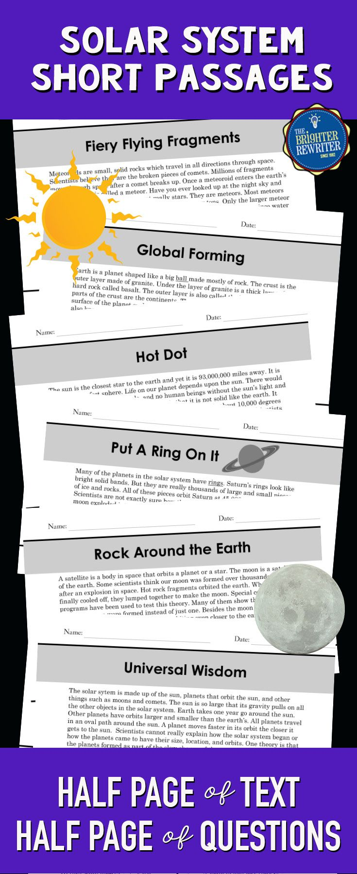 Integrate Science And Reading Using These 6 Nonfiction Mini Passages About The Solar System And Outer Space Solar System Solar Reading Comprehension Passages [ 1800 x 735 Pixel ]
