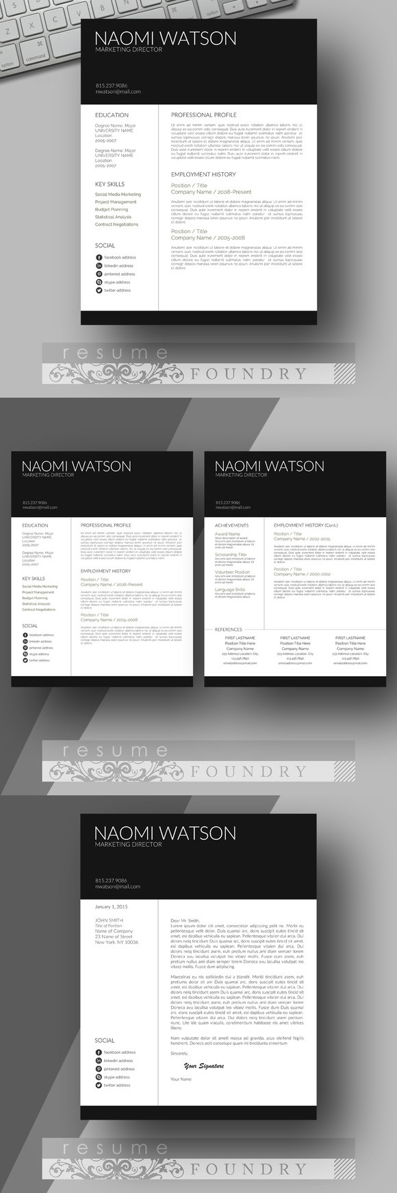 modern resume template  look professional with an easy to