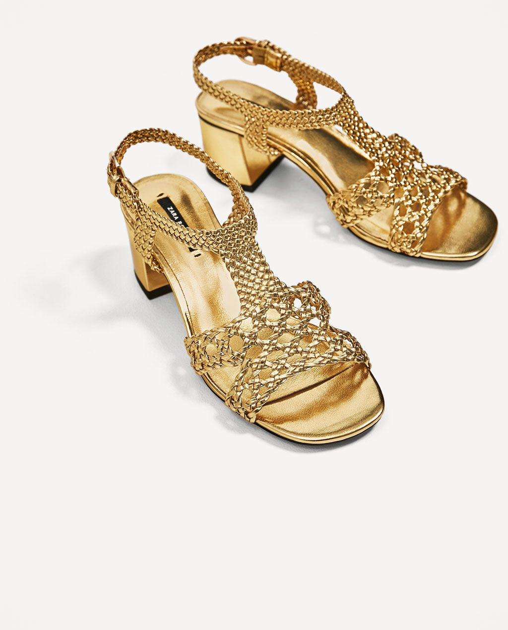 Image 3 Of Golden Braided High Heel Sandals From Zara