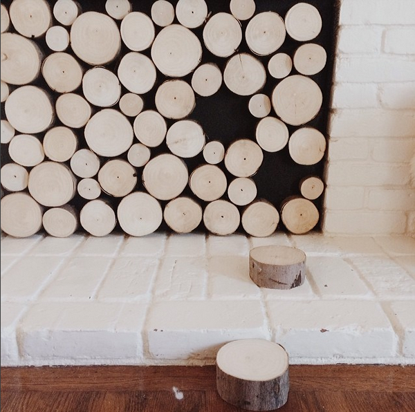Faux Stacked Log Fireplace Facade | Pepper Design Blog ...