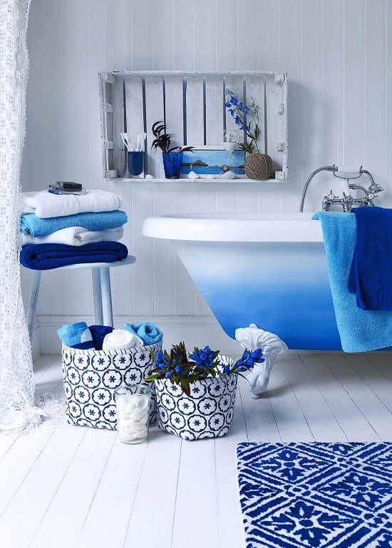 Love How Fresh These Blue Bathroom Accessories Are