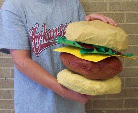 Giant paper mache 39 food conway high school art project for Paper mache activities