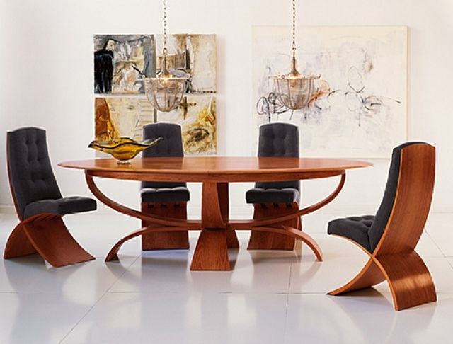 Salle Manger Moderne Table Ovale En Bois Avec  Conception
